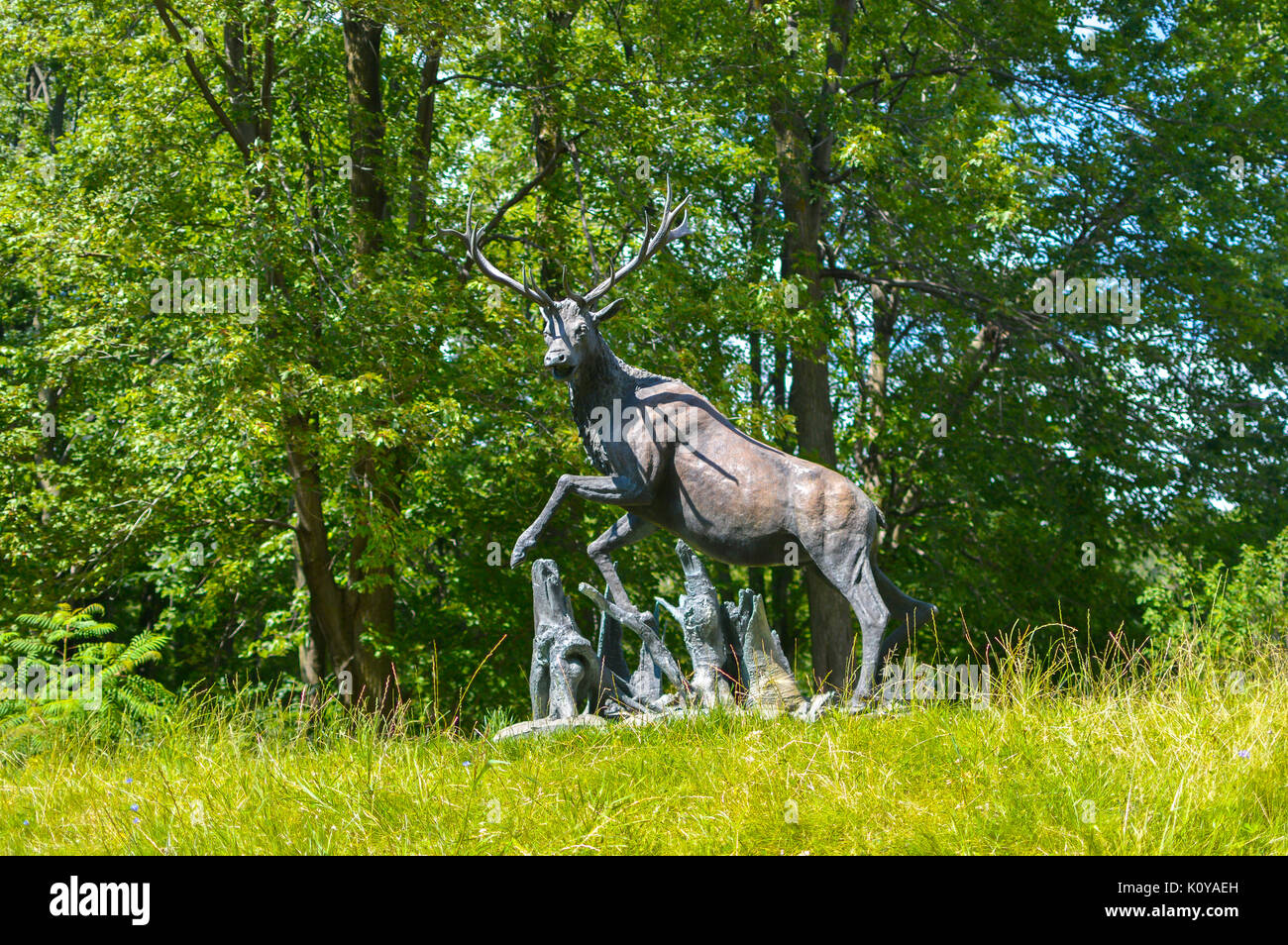 Montreal, Canada - August 16, 2017: Statue of the deer in the park of Cote Saint-Luc Stock Photo
