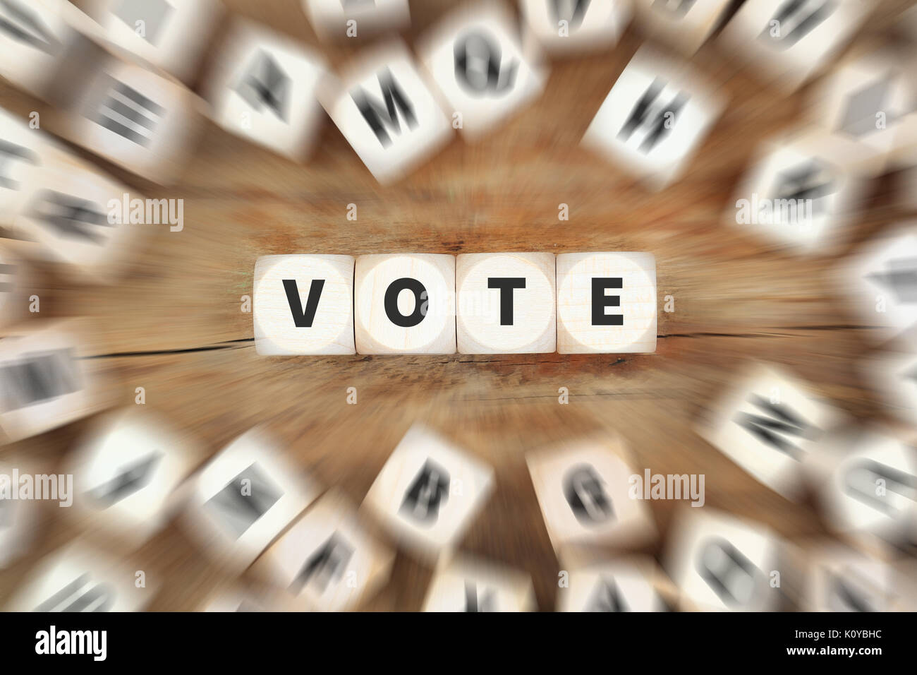 Vote election politics dice business concept idea - Stock Image