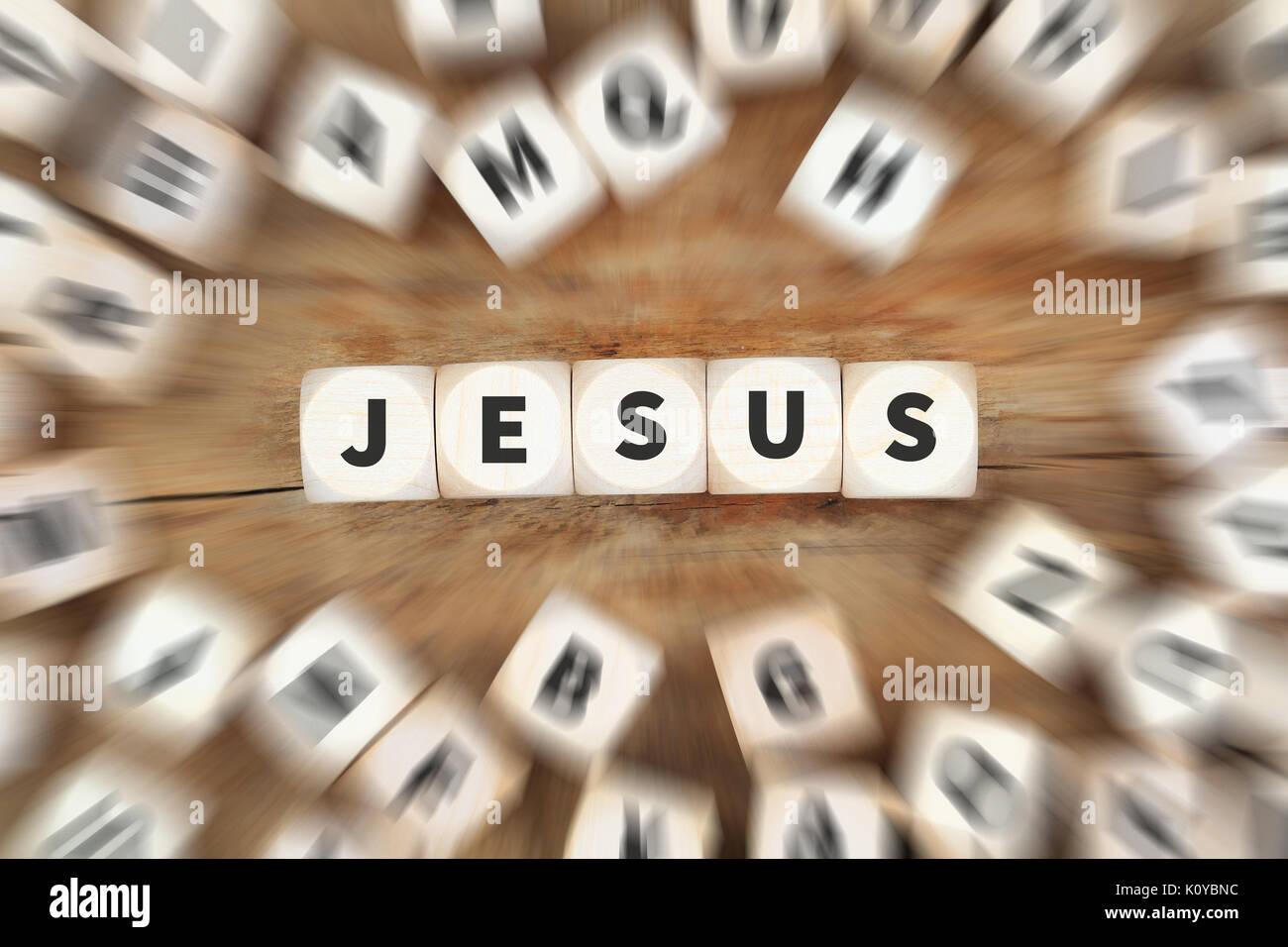 Jesus God believe belief religion church hope dice business concept idea - Stock Image