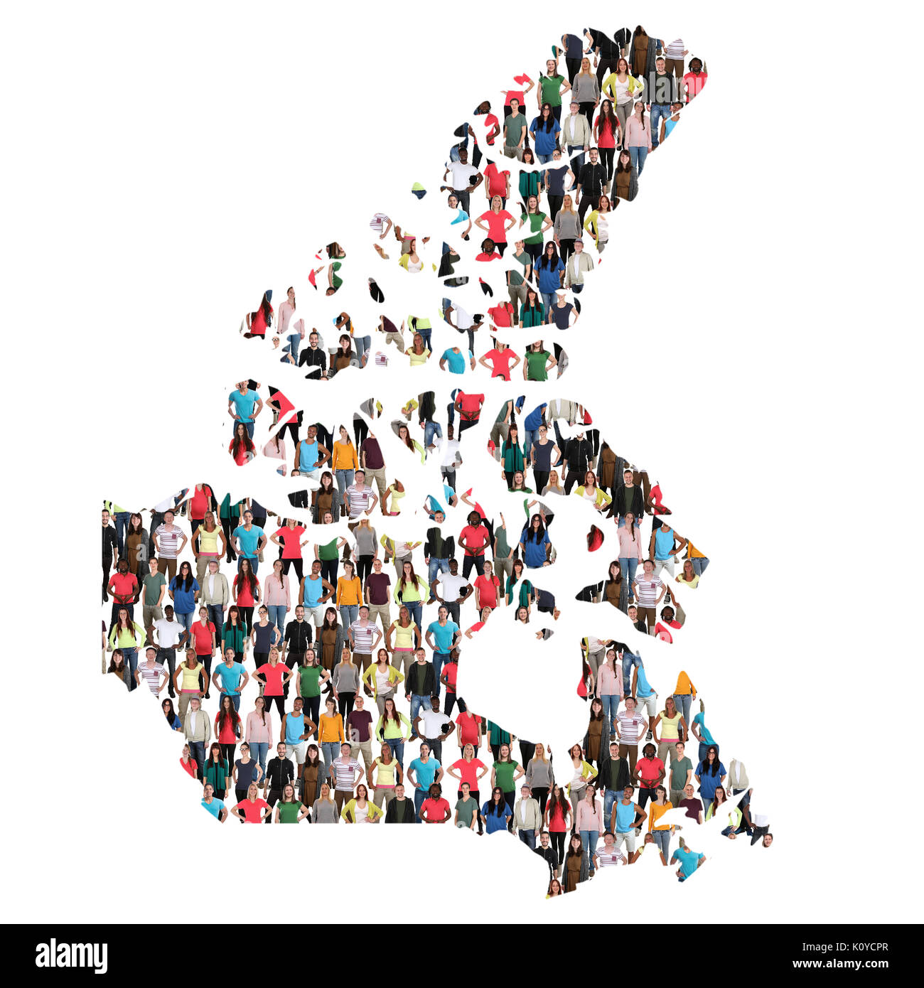 Canada map multicultural group of people integration immigration diversity isolated - Stock Image