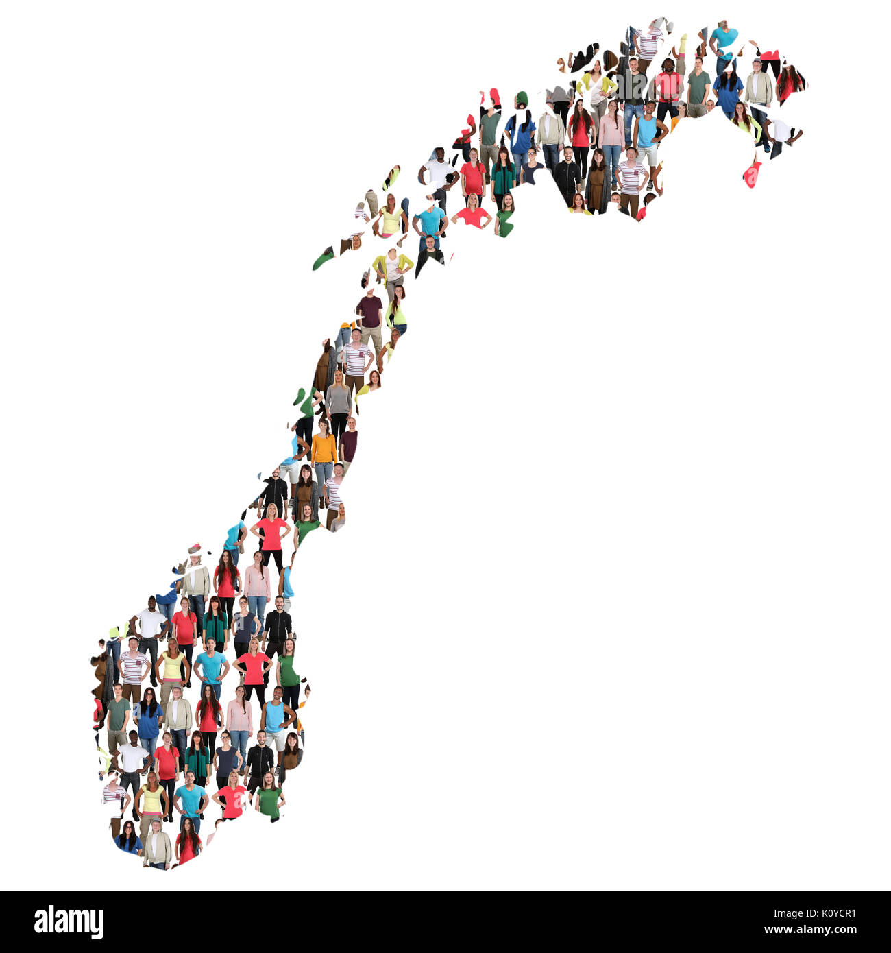 Norway map multicultural group of people integration immigration diversity isolated - Stock Image