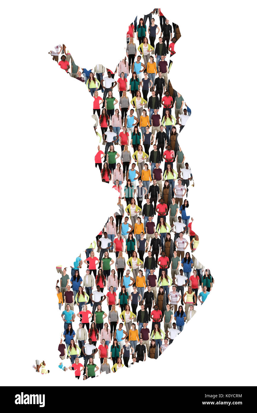 Finland map multicultural group of people integration immigration diversity isolated - Stock Image
