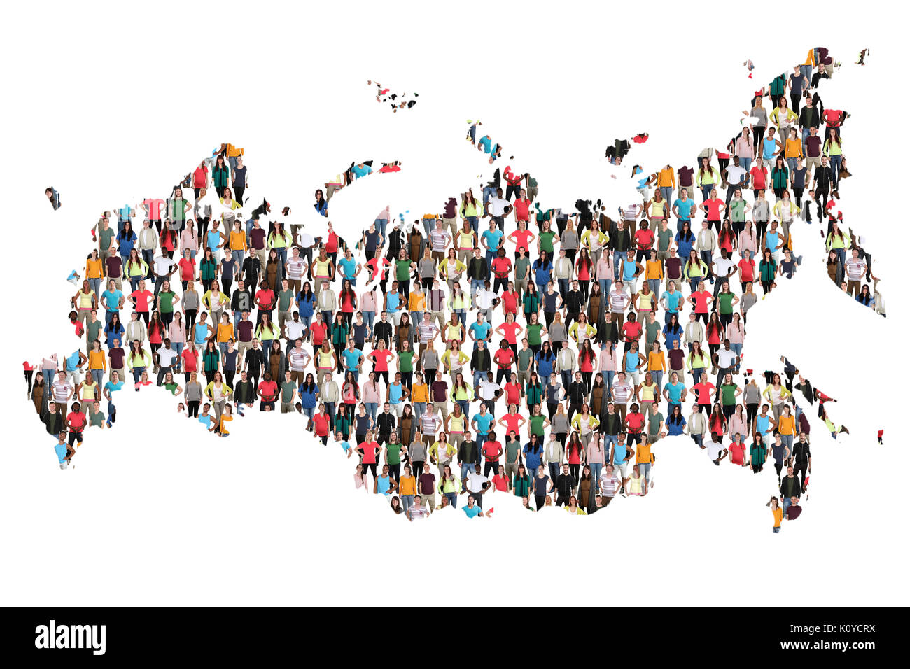 Russia map multicultural group of people integration immigration diversity isolated - Stock Image