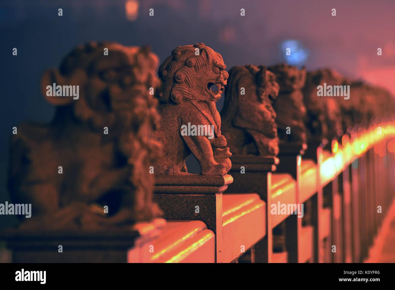 Evening Foo Dogs - Stock Image