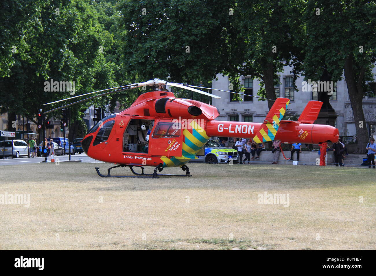 London Air Ambulance (HEMS) MD-902 Explorer at Parliament Square attending a medical emergency Stock Photo