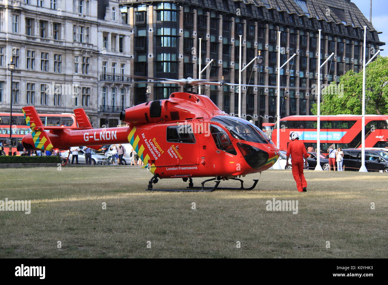 London Air Ambulance (HEMS) MD-902 Explorer at Parliament Square attending a medical emergency - Stock Image