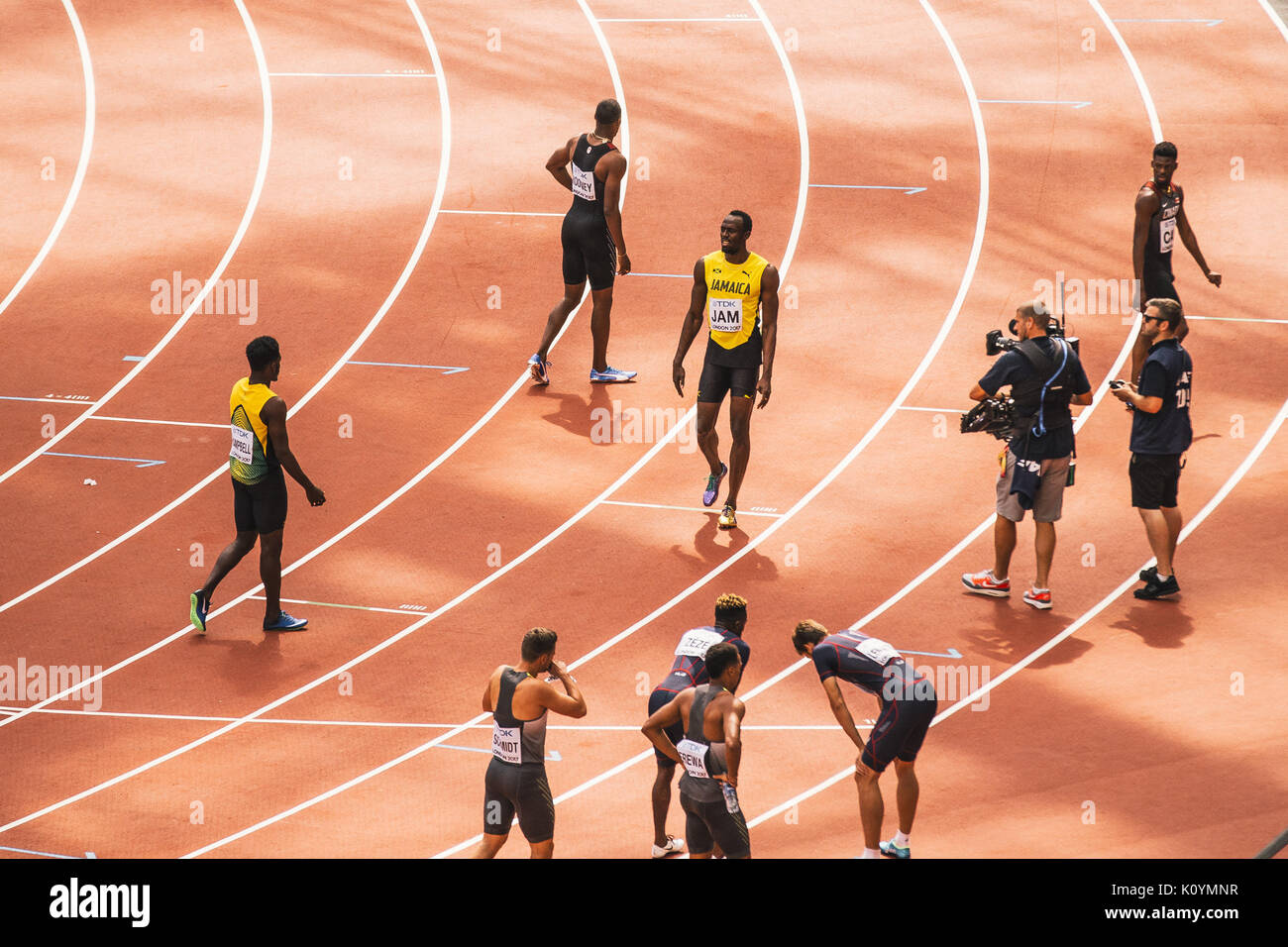 Usain Bolt following the heats of the 4x100m relay event at London 2017, held in the Olympic Stadium on August 12, 2017. - Stock Image