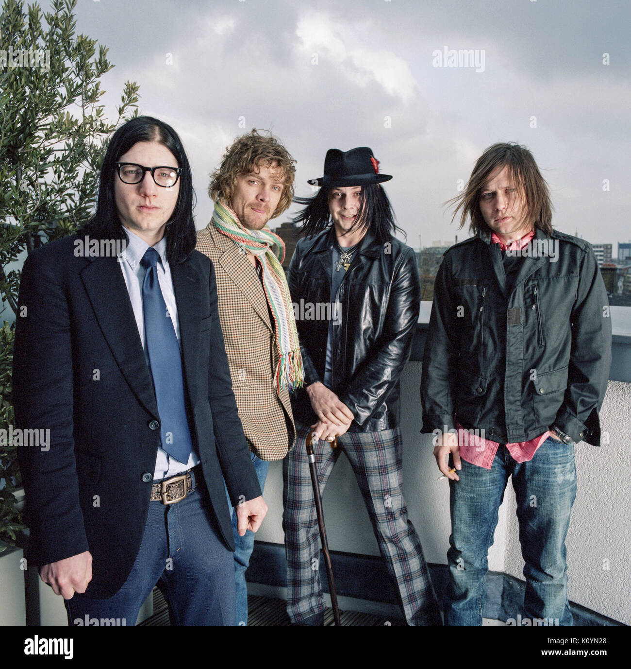 The Raconteurs an American rock band.  featuring L-R  Jack Lawrence, Brendan Benson,Jack White and Patrick Keeler. Photographed in London, England. - Stock Image