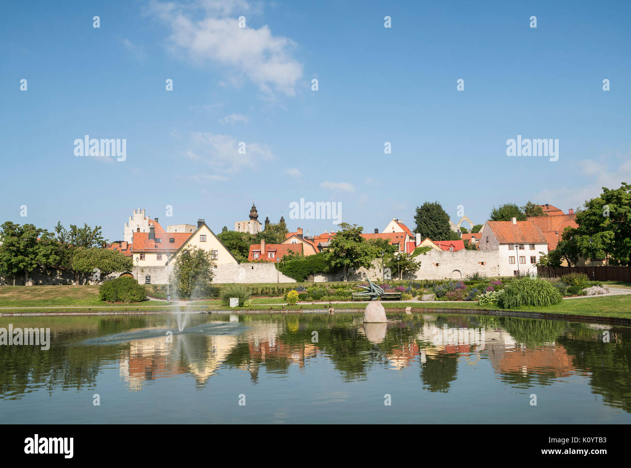 Pond in the Almedalen Park in Visby, Gotland, Sweden, Scandinavia. - Stock Image