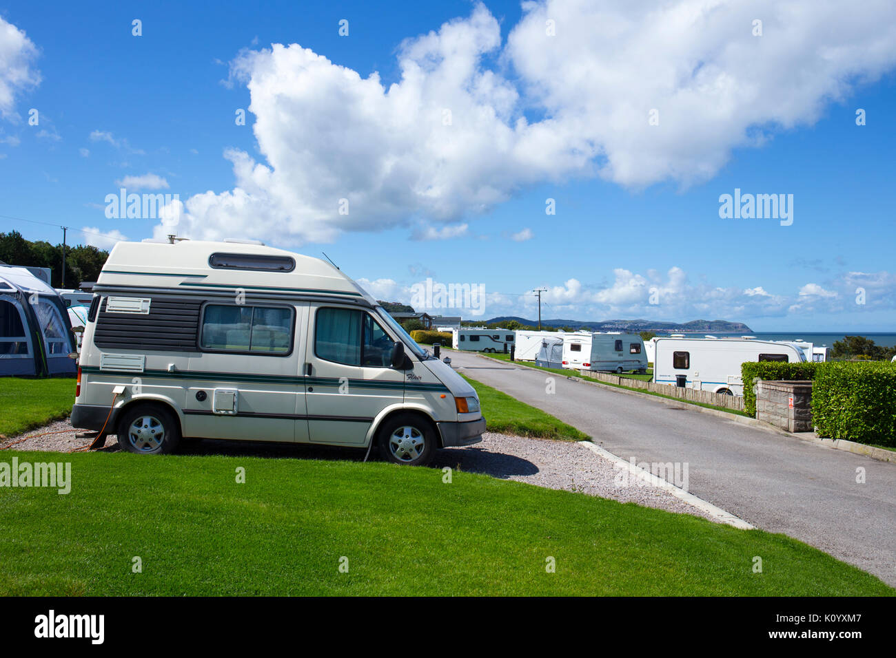 Ford Flair auto sleeper on Bron-Y-Wendon campsite in Llandddulas Wales UK - Stock Image