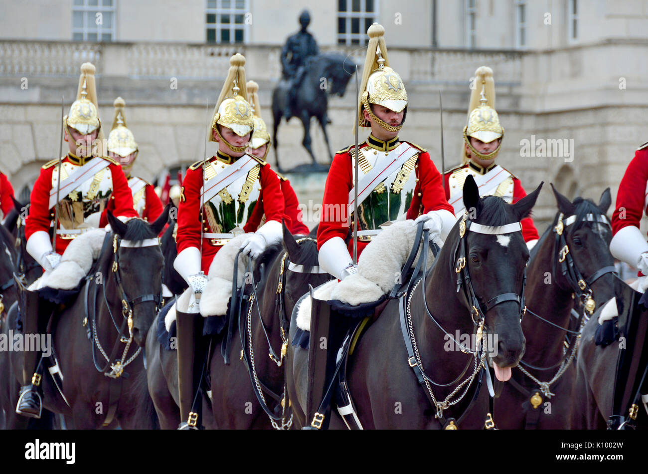 London, England, UK. Life Guards, part of the Household Cavalry, changing the guard on Horse Guards Parade Stock Photo