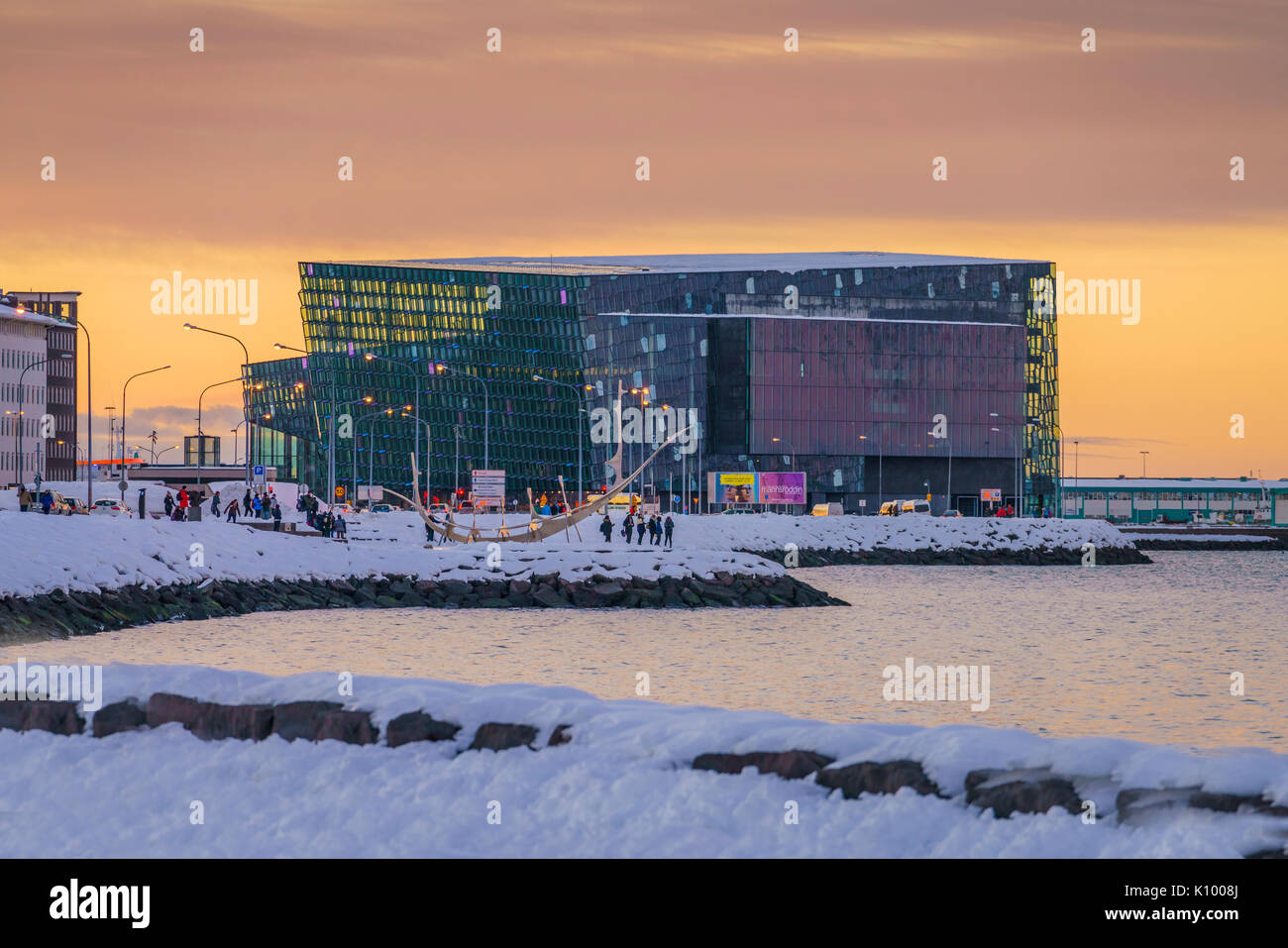 Harpa at Sunset, Wintertime, Reykjavik, Iceland - Stock Image