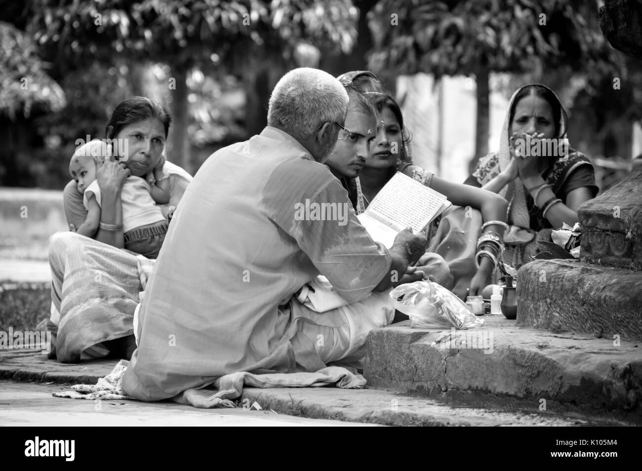 Religious talks in Sivadol campus. Every year, during the Mahashivaratri, a huge mela (fair) is organized in the Shiva temple and pilgrims visit. - Stock Image