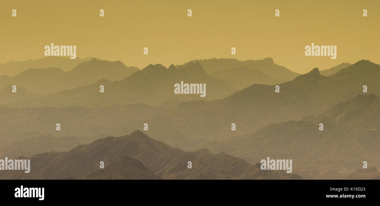 Al Hada Mountain in Taif City, Saudi Arabia with Beautiful View of Mountains - Stock Image