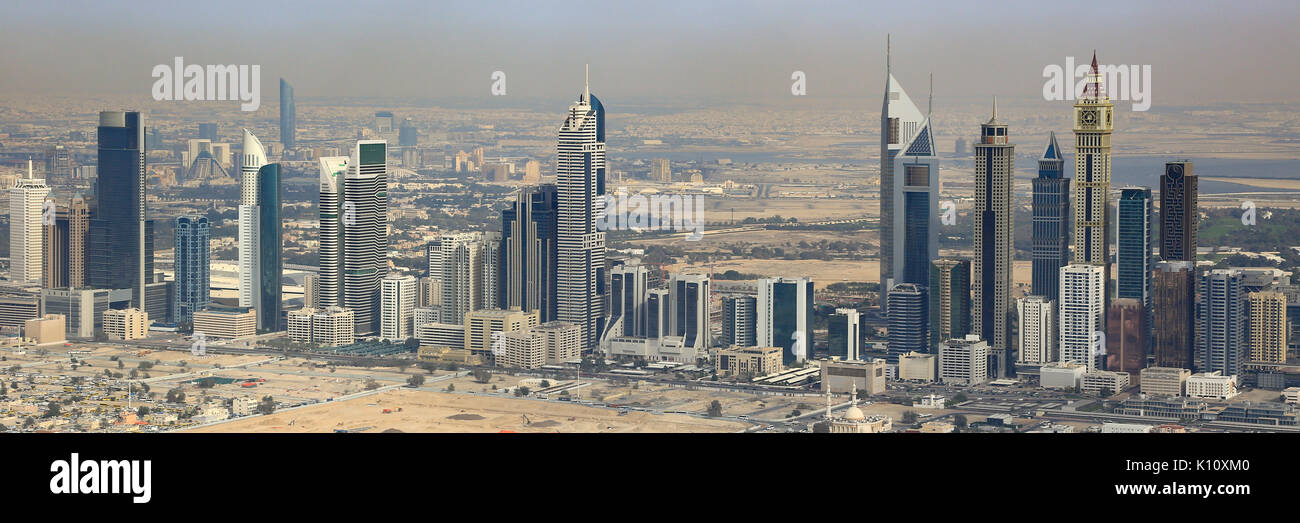 Dubai Emirates Towers panorama panoramic aerial view photography UAE - Stock Image