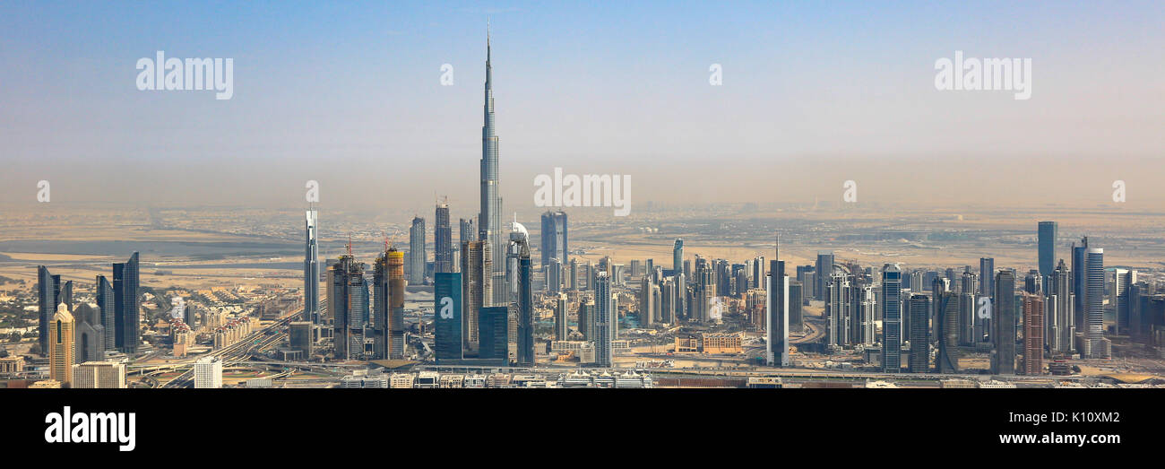 Dubai skyline Burj Khalifa skyscraper panorama panoramic aerial view photography UAE - Stock Image
