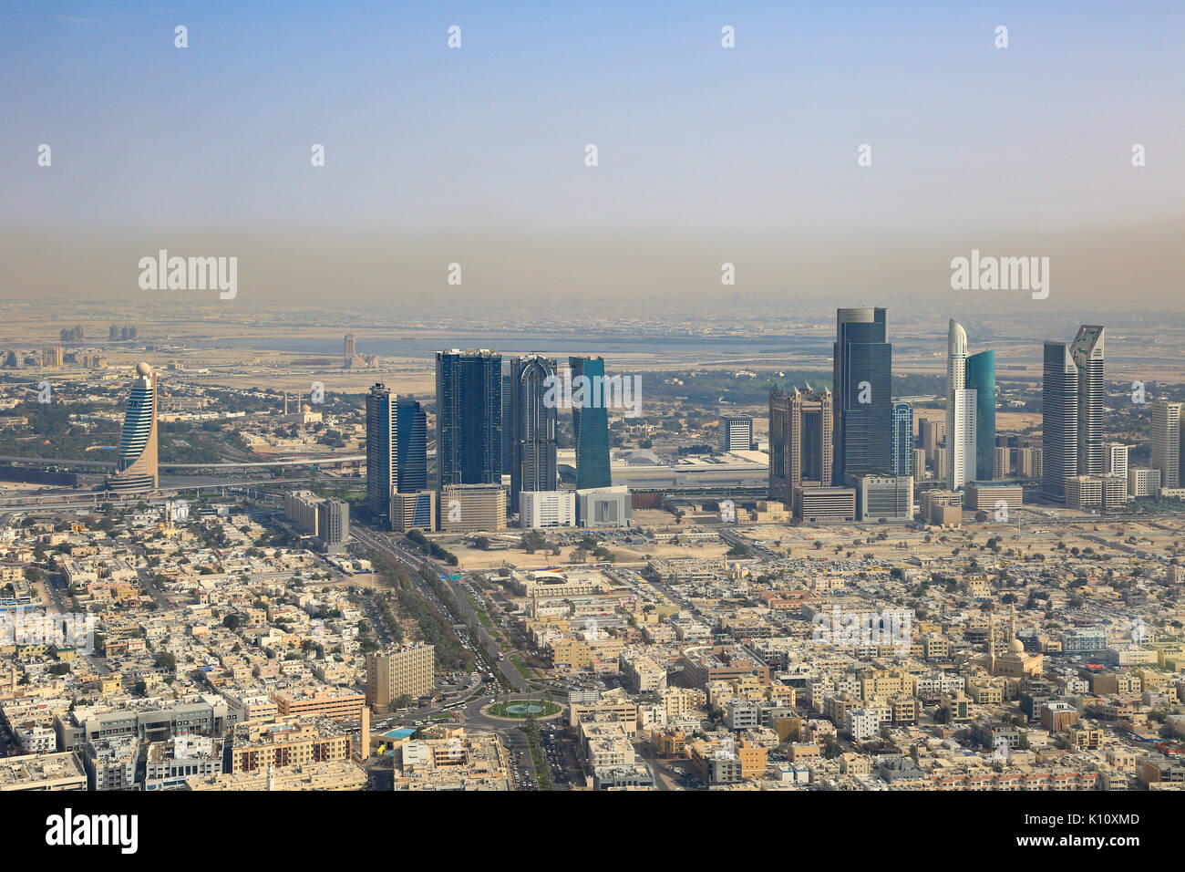 Dubai World Trade Center Downtown aerial view photography UAE - Stock Image