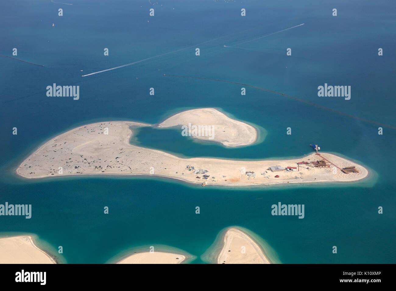 Dubai The World Clarence Island aerial view photography UAE Stock Photo