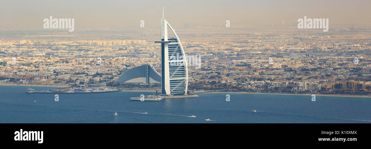 Dubai Burj Al Arab Hotel boats panorama panoramic aerial view photography UAE - Stock Image