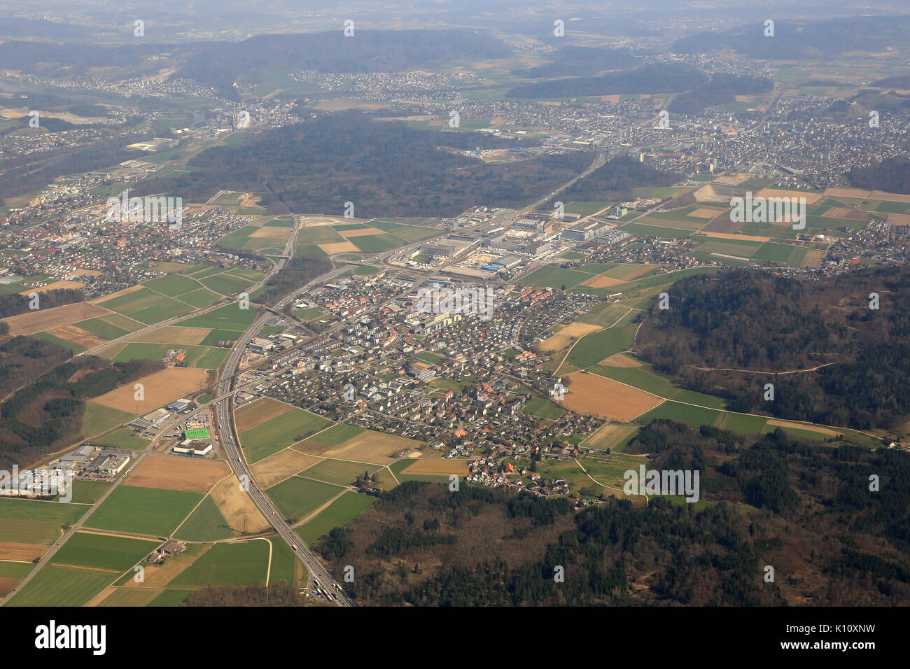 Hunzenschwil Canton Aargau Switzerland aerial view photography photo - Stock Image