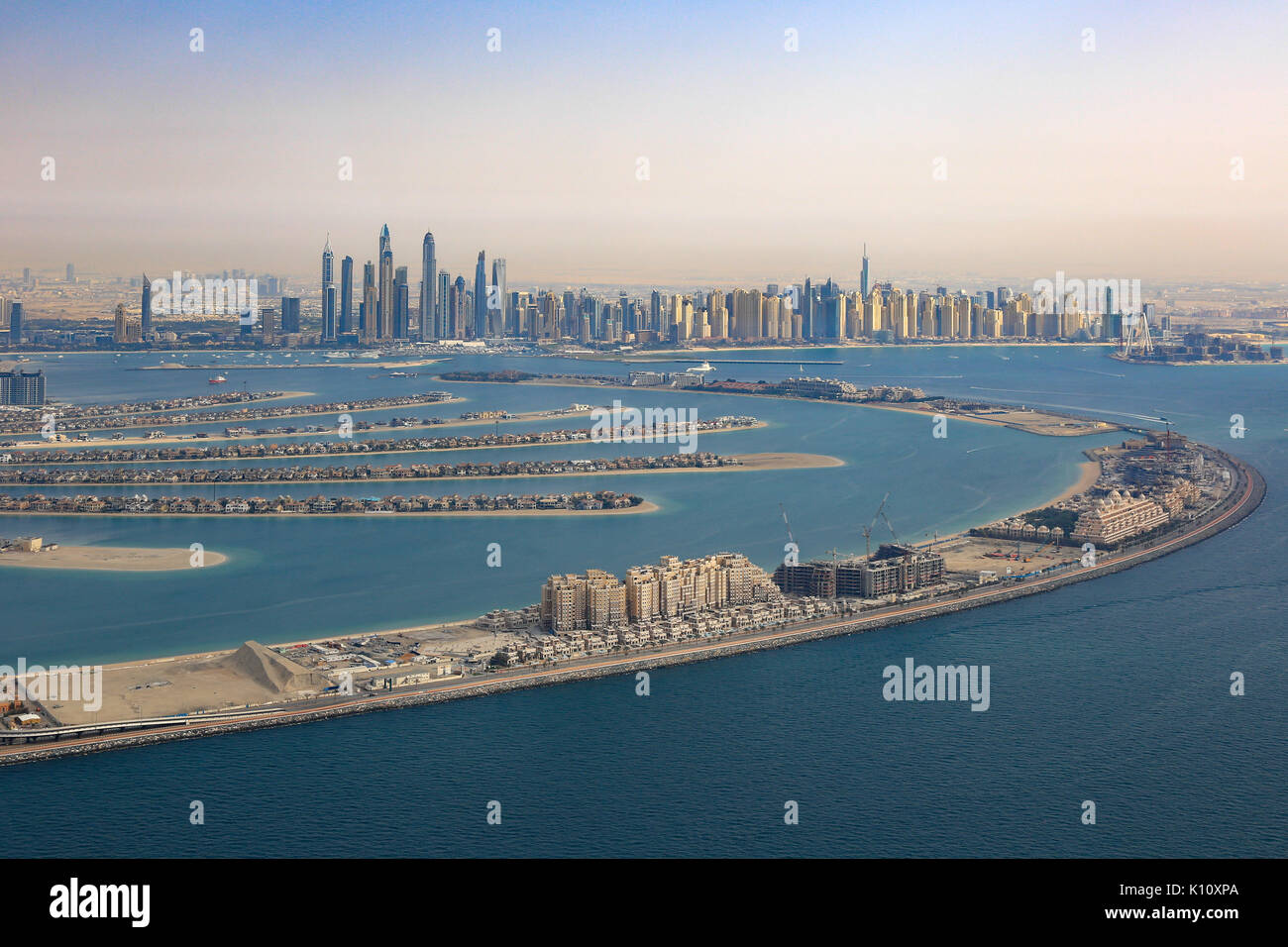 Dubai The Palm Jumeirah Island Marina aerial view photography UAE Stock Photo