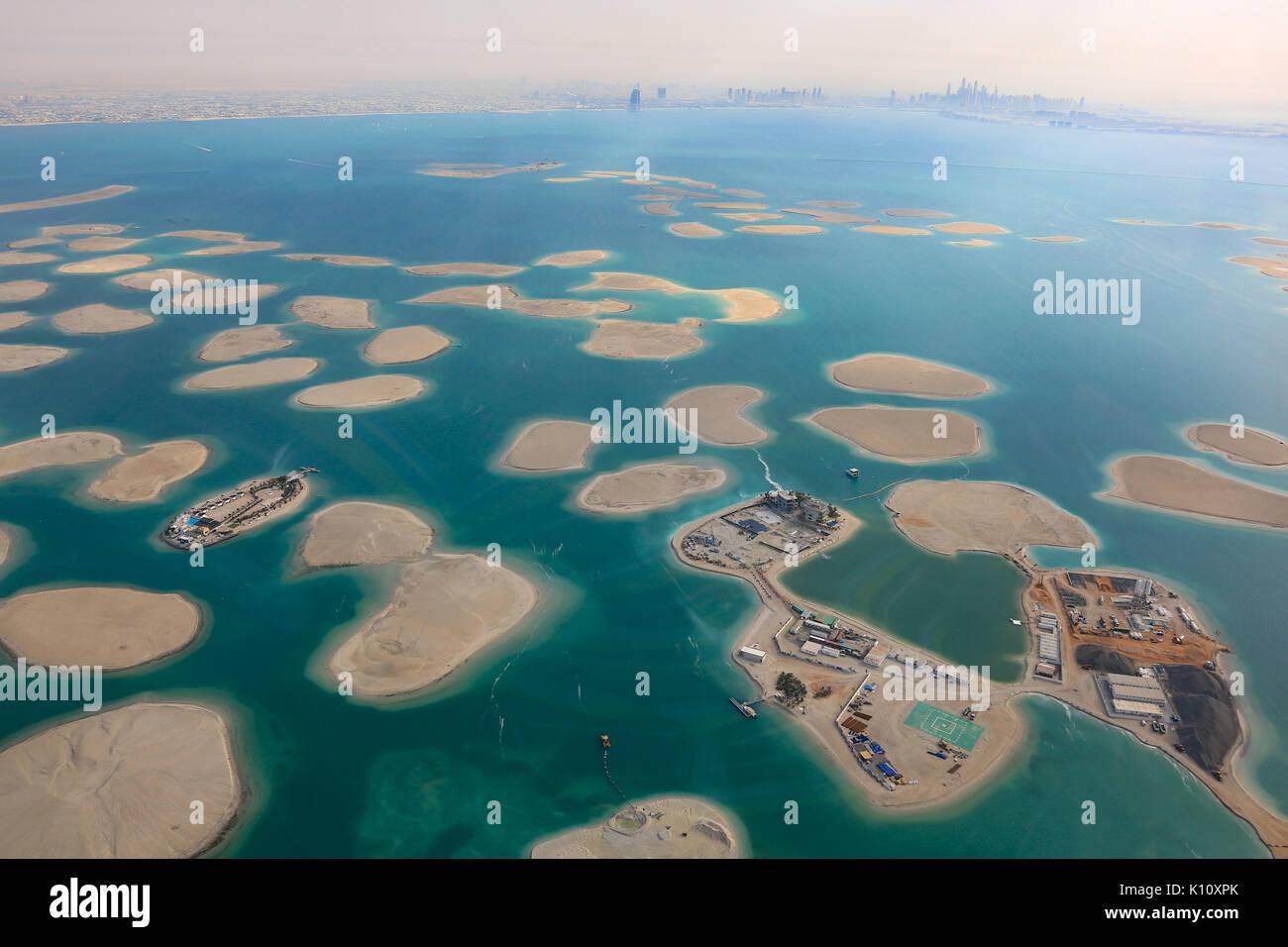 Dubai The World Islands Germany Austria Switzerland Lebanon panorama Island aerial view photography UAE - Stock Image