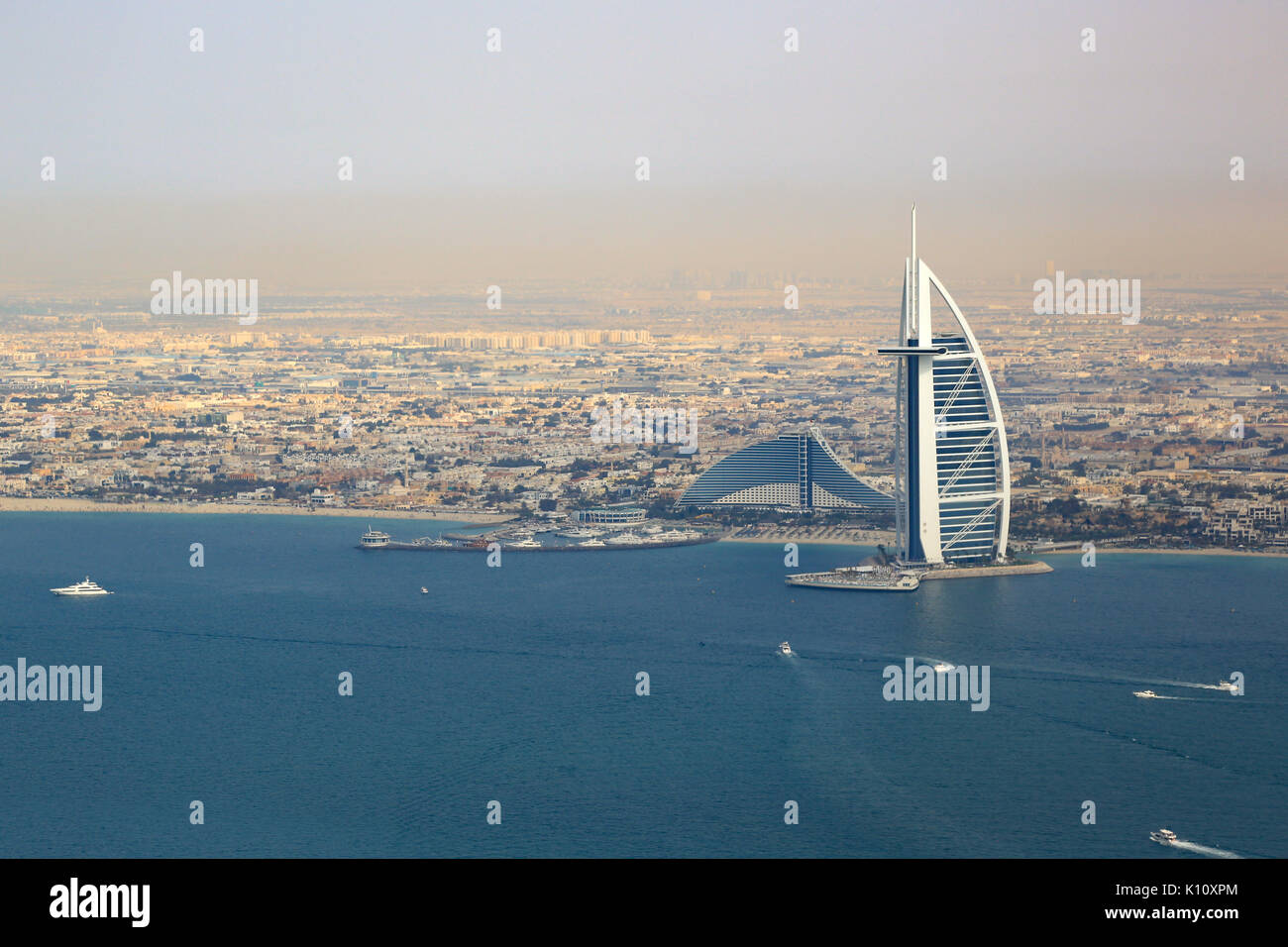 Burj Al Arab Hotel Dubai beach sea aerial view photography UAE - Stock Image