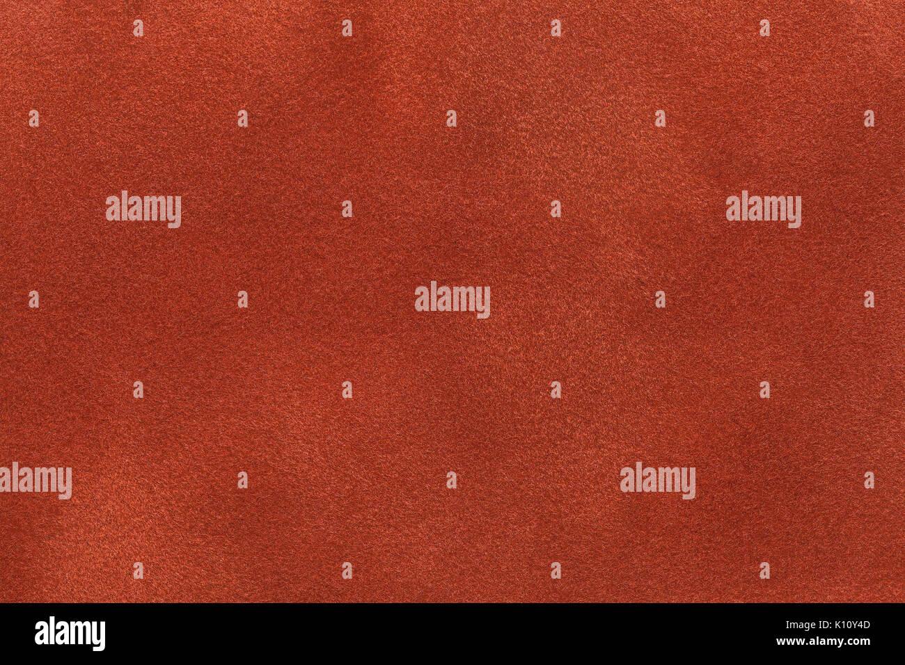 Background Of Dark Orange Suede Fabric Closeup Velvet Matt Texture Ginger Nubuck Textile