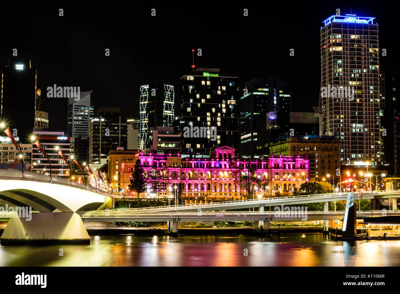 View to Brisbane river at night - Stock Image