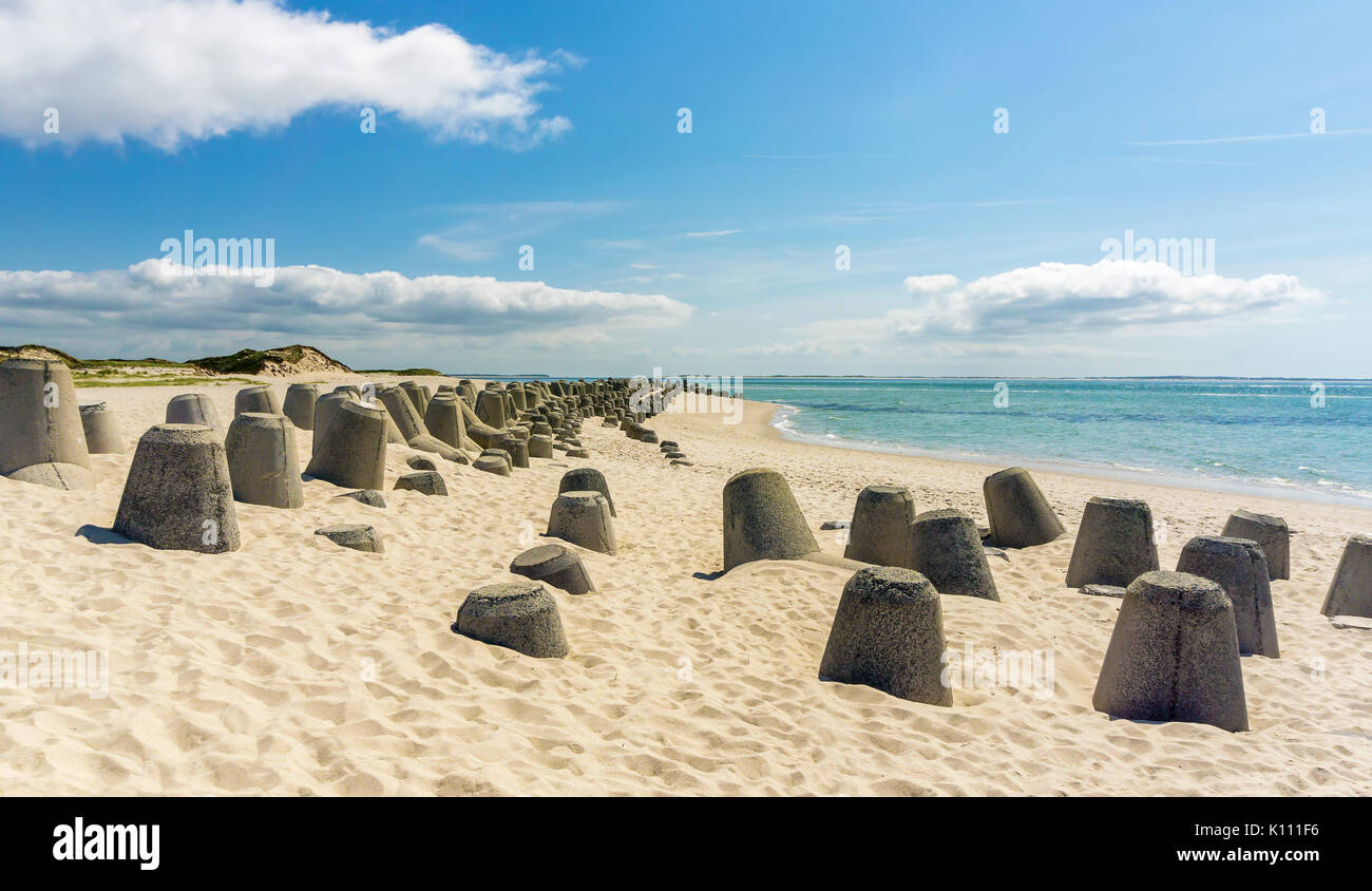 Tetrapods at Hörnum beach - Hörnum, Sylt, Germany - Stock Image