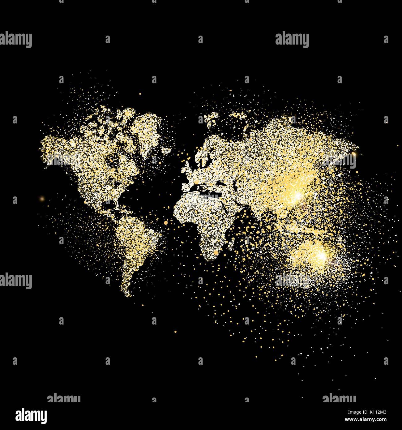 World map symbol concept illustration gold planet geography icon world map symbol concept illustration gold planet geography icon made of realistic golden glitter dust on black background eps10 vector gumiabroncs Images