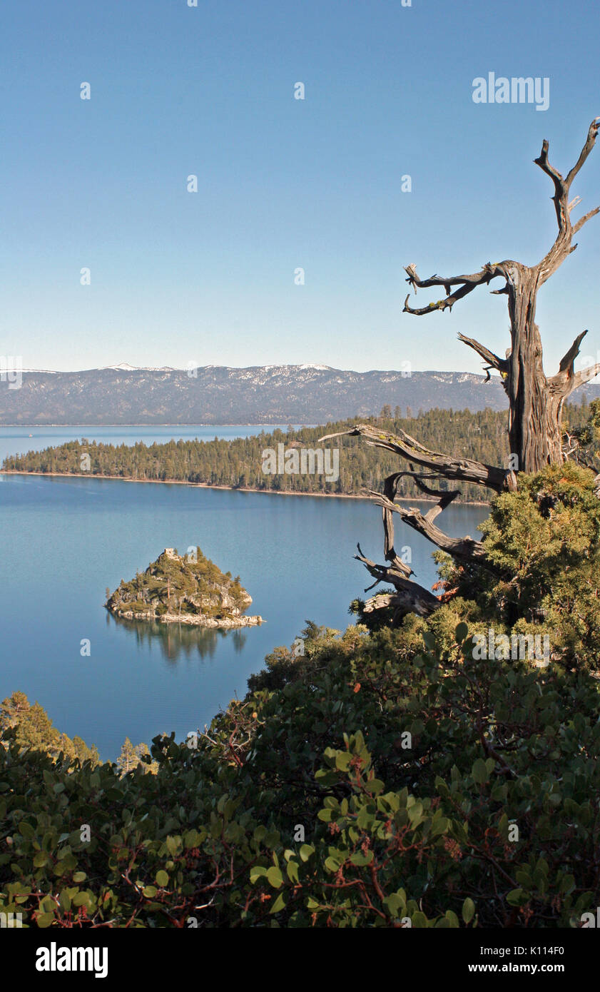 SCENIC VIEW OF EMERALD BAY IN LAKE TAHOE, CALIFORNIA Stock Photo
