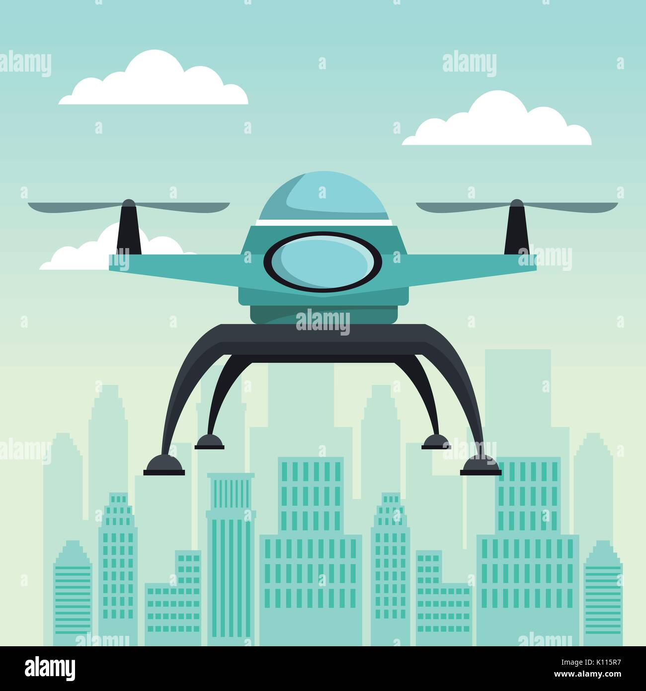 city landscape scene with drone with two airscrew flying - Stock Image