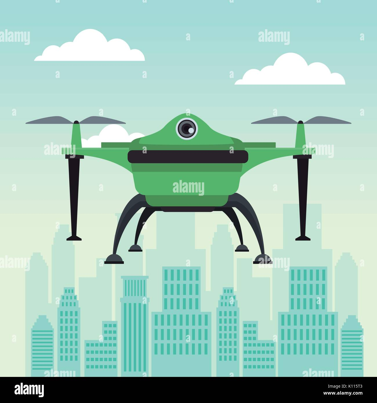 city landscape scene with drone with two airscrew flying and base - Stock Image