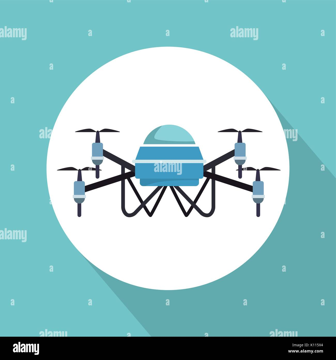 color background with circular frame robot drone with four airscrew - Stock Image