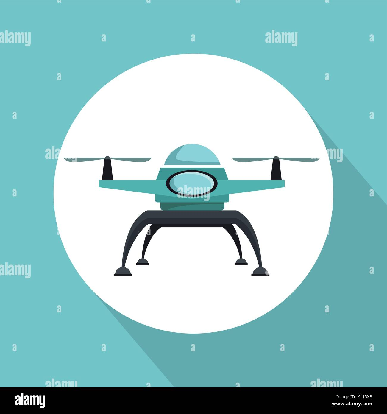 color background with circular frame drone with two airscrew flying - Stock Image