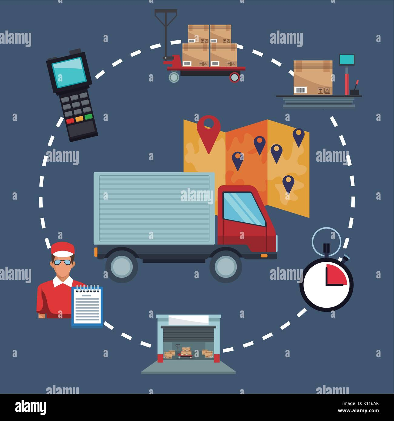 color background with icons storage logistics and closeup truck with map location - Stock Image