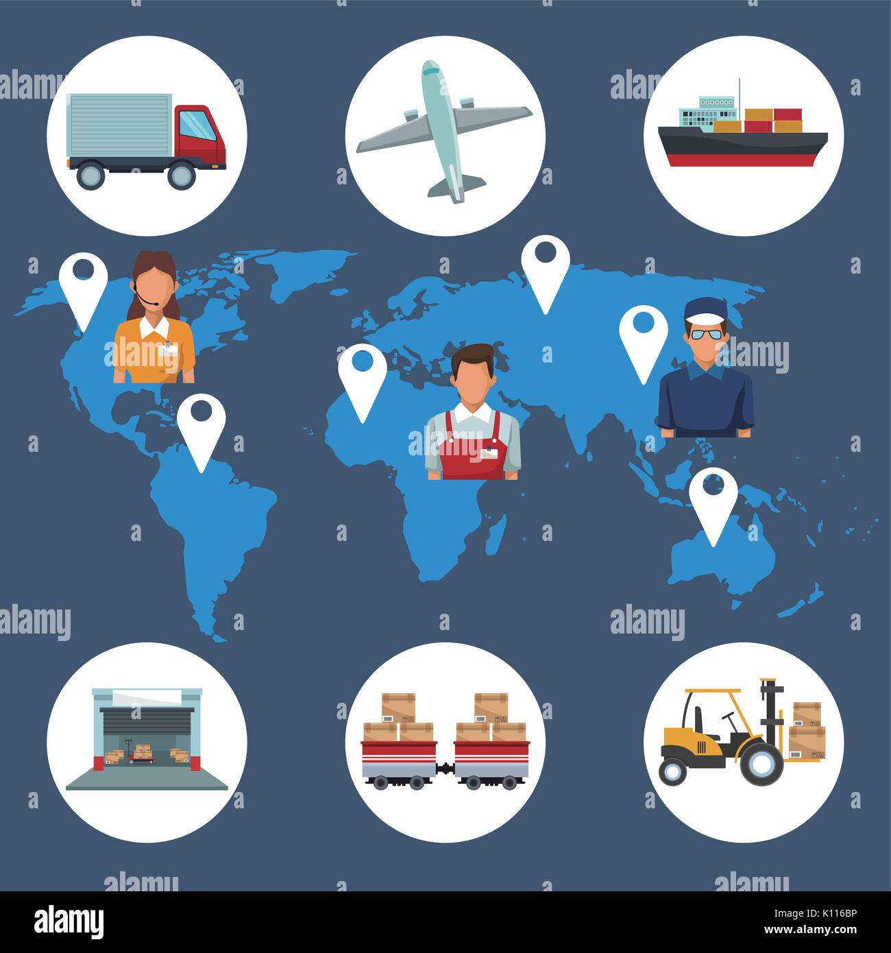color silhouette world map background with icons storage logistics and people location - Stock Image