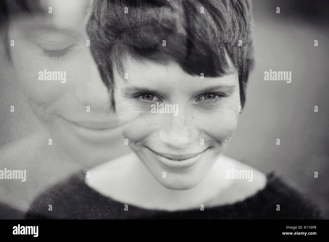 Duplicate portrait of a girl - Stock Image