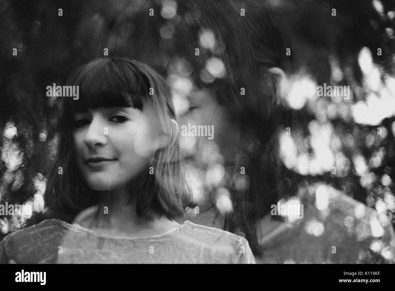 Woman in double exposure - Stock Image