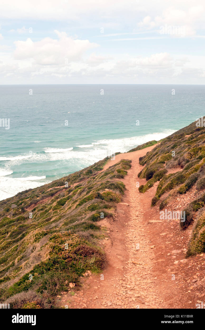 A pathway or track along the cliff tops on the cornish coast at st Agnes high above the sea below and the beach. A track, pathway or trail along cliff - Stock Image