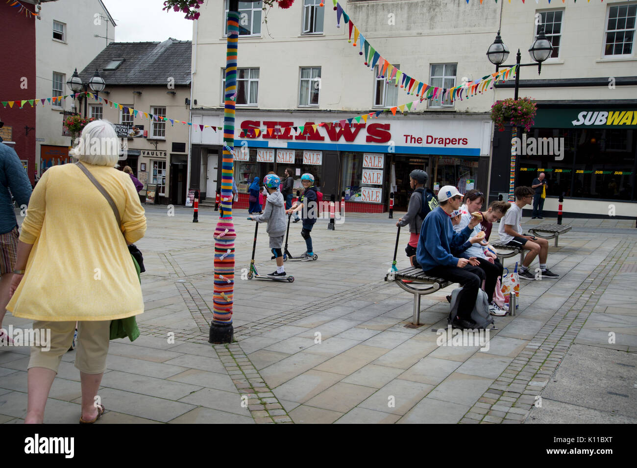 West Wales. Haverford West. Breaking Out the Gallery - outdoor art, part of town regeneration and celebration. - Stock Image