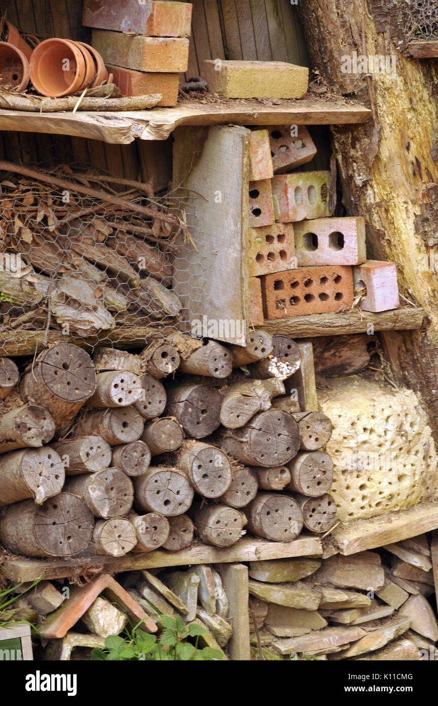 a home made artificial sanctuary or nesting complex for bugs and insects in the natural world of nature ground loving habitats for beetles and bugs - Stock Image
