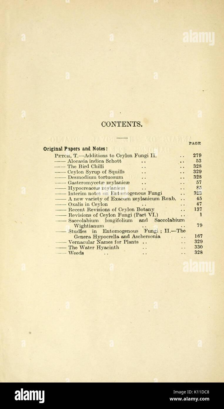 Annals of the Royal Botanic Gardens, Peradeniya BHL2915482 Stock Photo