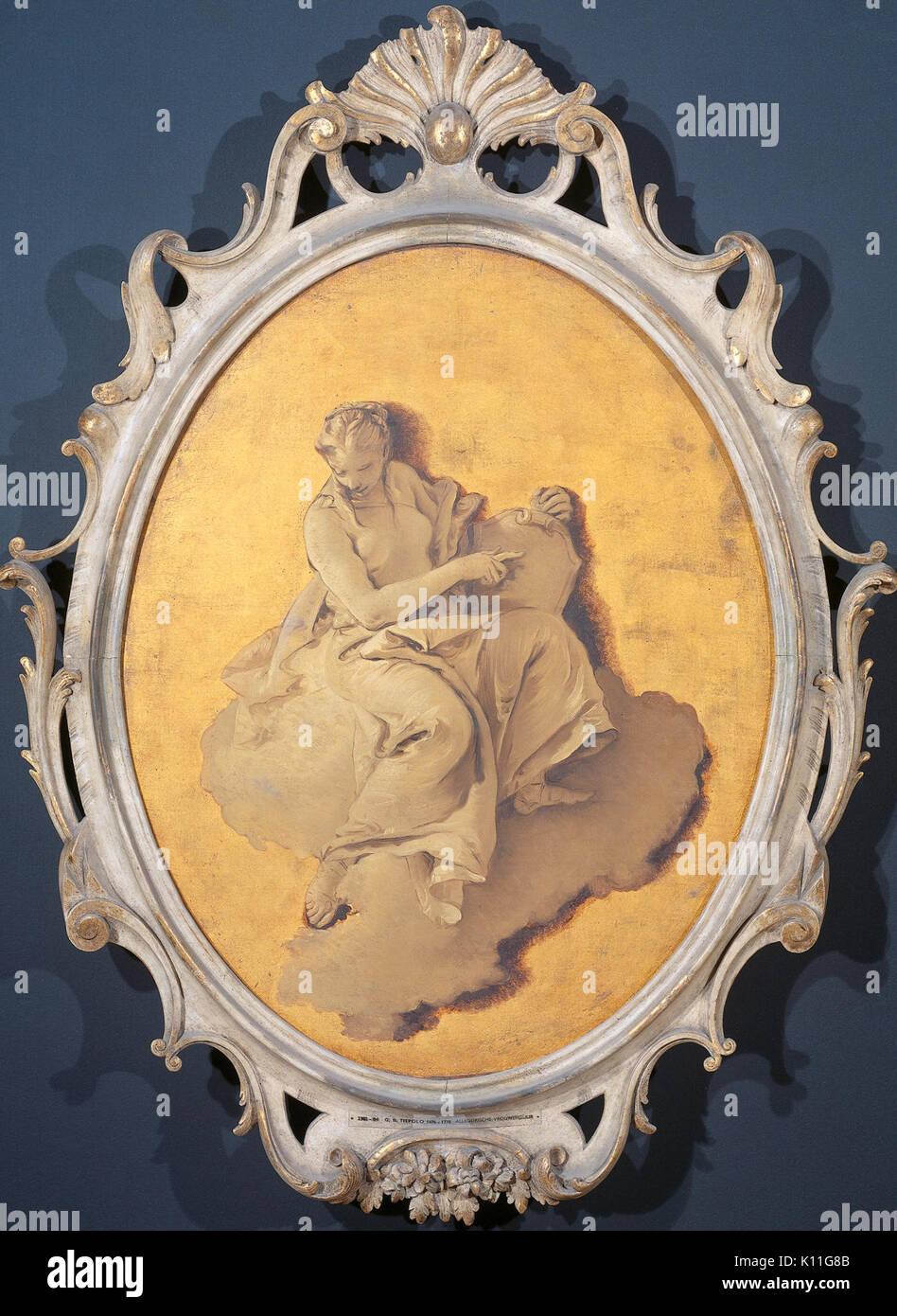 Allegorische vrouwenfiguur met een schild of spiegel (wellicht Voorzichtigheid) Rijksmuseum SK A 3438 - Stock Image