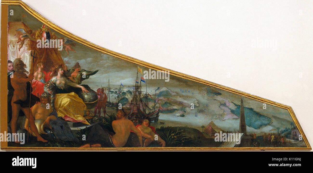 Allegorische voorstelling van Amsterdam als centrum van de wereldhandel Rijksmuseum SK A 4947 - Stock Image