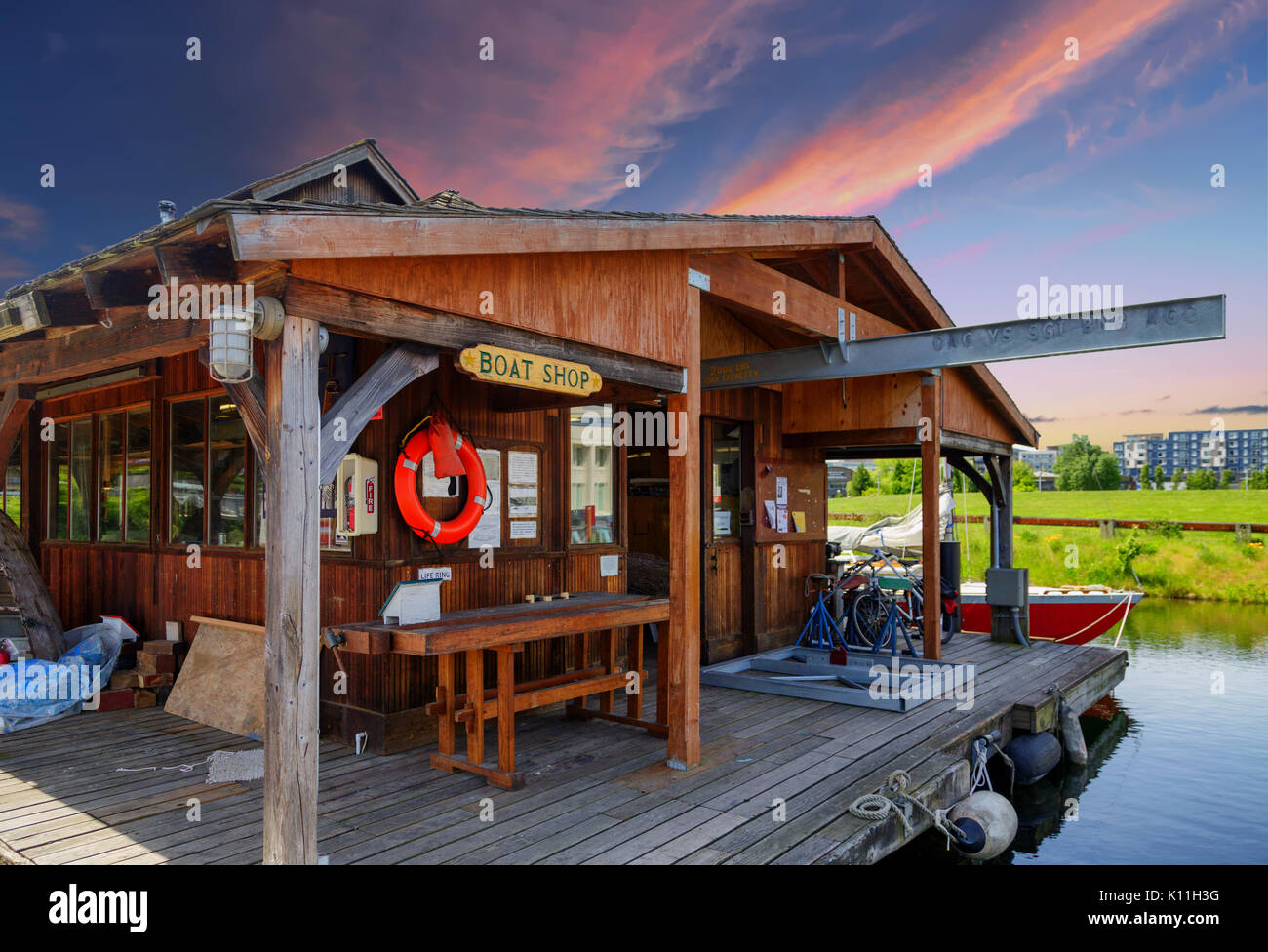 Seattle Boat House at Sunset - Stock Image