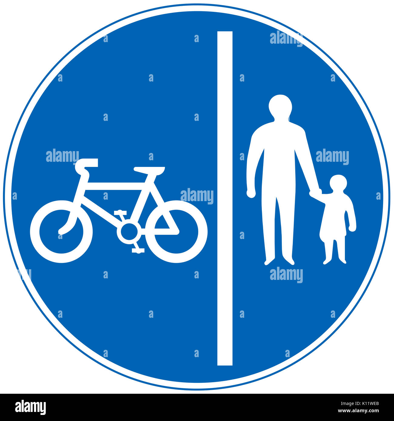 Segregated pedal cycle and pedestrian route road sign on white background - Stock Image