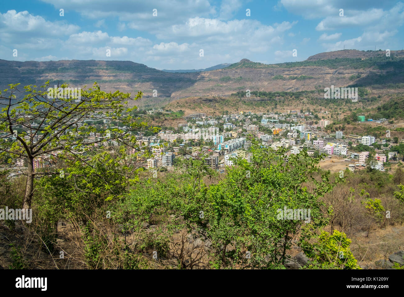 A shot of the town of Talegoan and how soon iy s spreading to envelope the once lush forests and farmlands. - Stock Image
