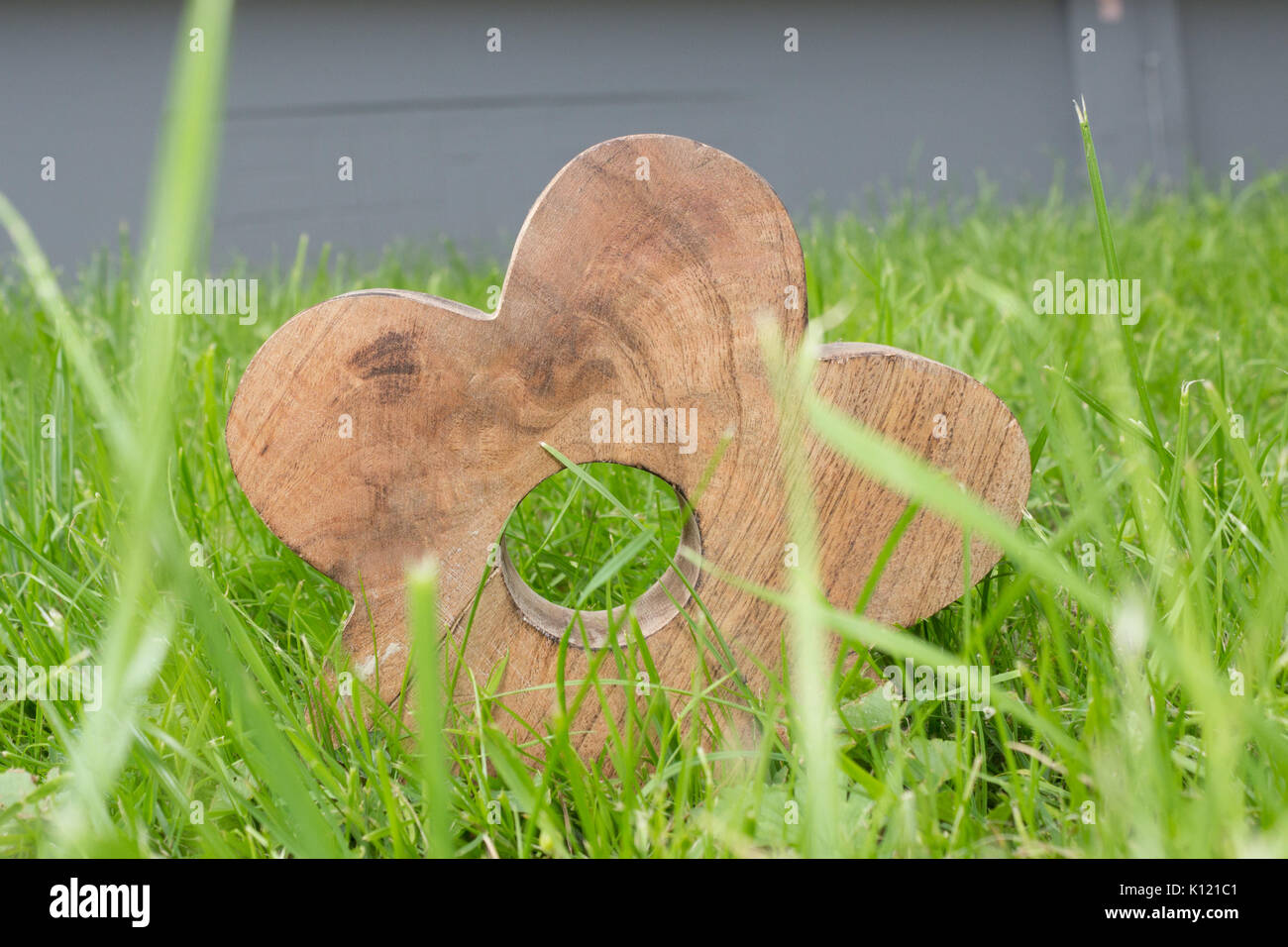 A wooden decoration in green grass against a gray wall. - Stock Image